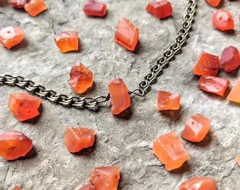 Carnelian Stone Necklace / Raw Gemstone Jewelry / Orange Crystal Necklace / Rough Cut Carnelian