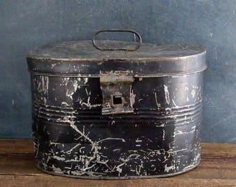 Vintage Farmhouse Tin Storage Box, Large Oval Tin Box, Kitchen Storage Bin, Primitive Tin,Farmhouse Decor,Rustic Storage Box,Vintage Tin Box
