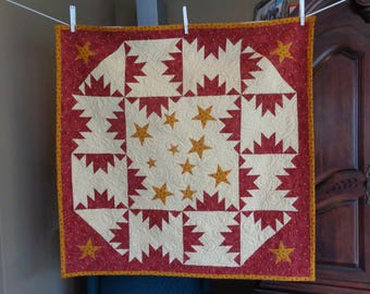 Red Patchwork with Stars, Decorator quilt 0518-02