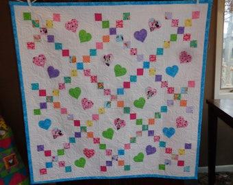 Baby Quilt, Hearts Baby Quilt, Irish Chain Baby Quilt 1211-04