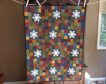 Scrappy Patchwork with Snowflakes, Decorator quilt, wall quilt, 0617-03