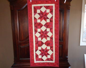 Red Patchwork runner, Country table runner, 0201-01