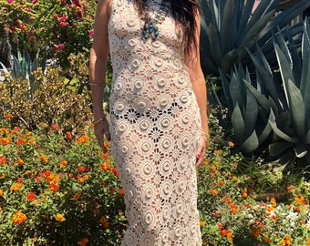 GoldDust Romantic Bohemian Crochet Maxi Dress
