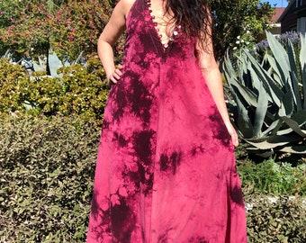 Silk Tie Dye Dress// Silk Noil Caftan// Silk Summer Dress// Sleeveless Handmade Kaftan