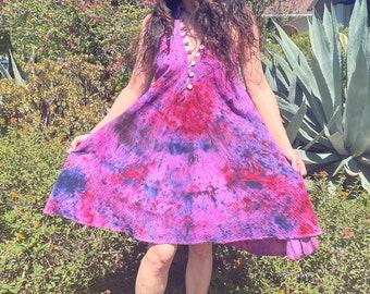 Tie Dye Gauze Cotton Dress// Tie Dye Cotton Caftan// Gauzy Summer Dress// Sleeveless Handmade Kaftan