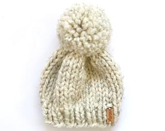 Hand Knitted Newborn Baby Beanie > Neutral Baby Beanie > Baby Beanie With Pom Pom > Chunky Knit Baby Hats > Baby Beanie > Knit Baby Hat