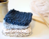 Hand Knitted Coaster Set // Chunky Knit Coasters // Hand Knitted Square Coasters // Chunky Knit Boho Coasters // Knit Coaster Set