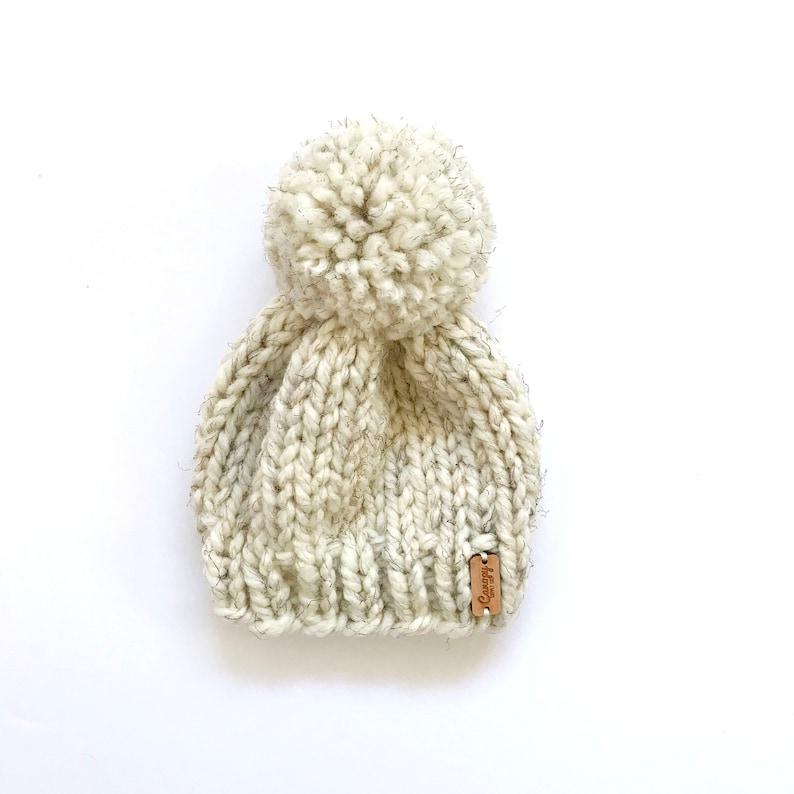 Hand Knitted Newborn Baby Beanie  Neutral Baby Beanie  Birch