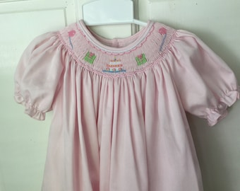 6a17747b Girls Smocked Birthday Party Dress / Presents / Pink / Embroidered Dress / Baby  Girl / Toddler Smocked Dress