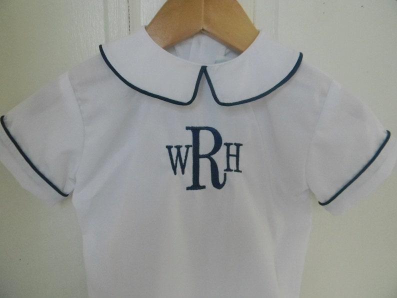 6a59617c Peter Pan Collar Boys Shirt Monogram-Ready to Ship   Etsy