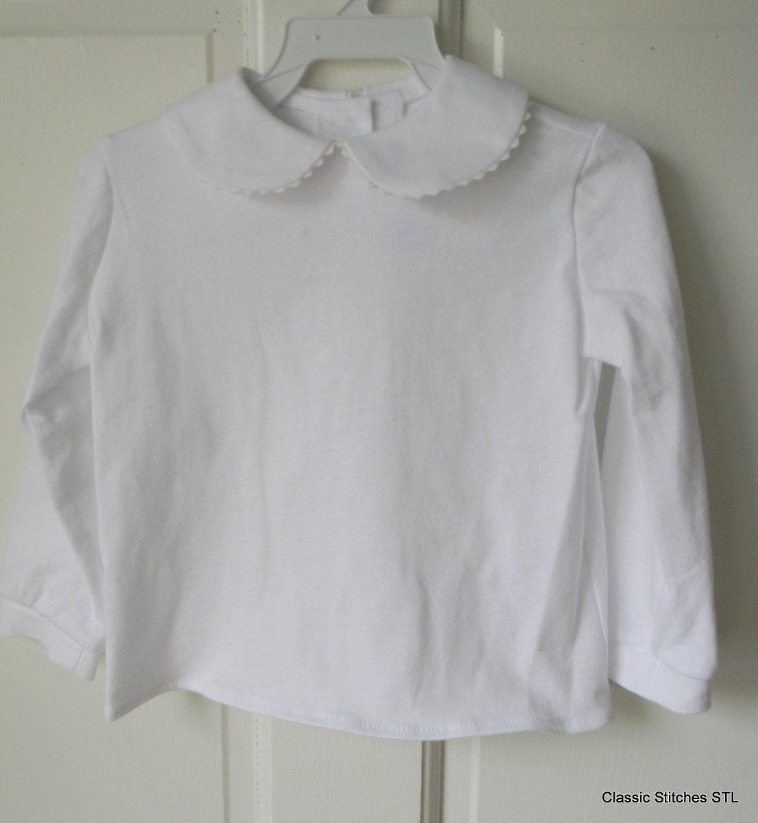 Girl White Knit Peter Pan Collar Long Sleeve Blouse Shirt Etsy