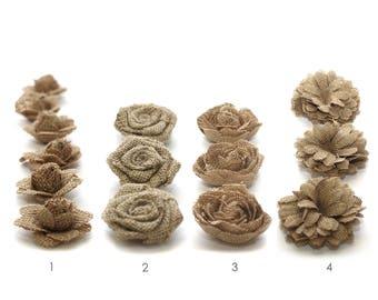 Burlap Flowers | Jute Rose Flower Head | Rustic Wedding Invitation | Shabby Chic Decoration Idea