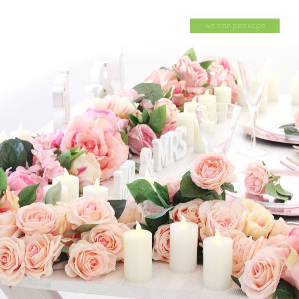 chemin de table fleur rose blush fard à joues rose de | etsy