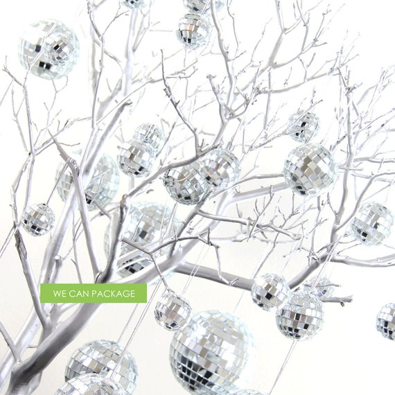 Disco Balls Silver Mirror Ornaments Glass For Wedding Etsy Cool Disco Ball Decorations Cheap