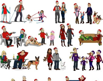 Add-On - People, Pet, or Vehicle to Already Purchased Custom Illustrated Holiday Card