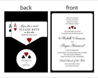 Panel Pocket - CLASSIC VEGAS - Vegas or poker Themed Wedding Invitations