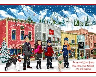 Park City, Utah - Custom Illustrated Christmas Card - Holiday Card - Hannukah Card - DIY Printable - Print Option Available