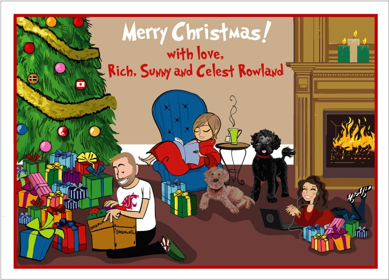 Holiday Family  Custom Illustrated Christmas Card  Holiday image 0