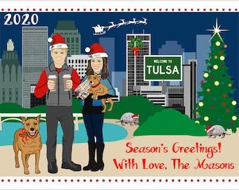 Tulsa - no snow skyline - Custom Illustrated Christmas Card - Holiday Card - Hannukah Card - DIY Printable - Print Option Available