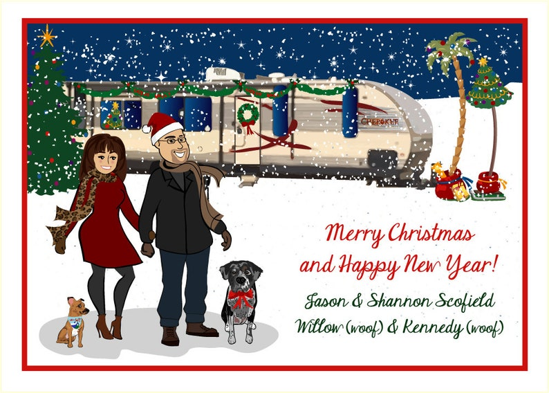 RV Camping Camper Holiday  Custom Illustrated Christmas Card image 0