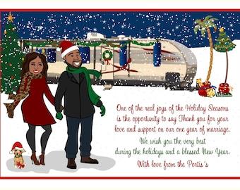 CAMPER CAMPING - Custom Illustrated Christmas Card - Holiday Card - Hannukah Card - DIY Printable - Print Option Available