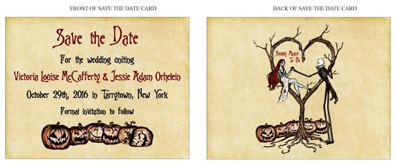 Save The Date Cards Vintage Fall Autumn Halloween Spooky Etsy