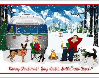 AIRSTREAM CAMPING - Custom Illustrated Christmas Card - Holiday Card - Hannukah Card - DIY Printable - Print Option Available