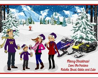Snowmobiling - Custom Illustrated Christmas Card - Holiday Card - Hannukah Card - DIY Printable - Print Option Available