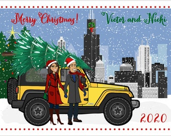Add-On - Cityscape,  House, or Custom Building to Already Purchased Custom Illustrated Holiday Card