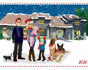 Custom Home Background - Custom Illustrated Christmas Card - Holiday Card - Hannukah Card - DIY Printable - Print Option Available