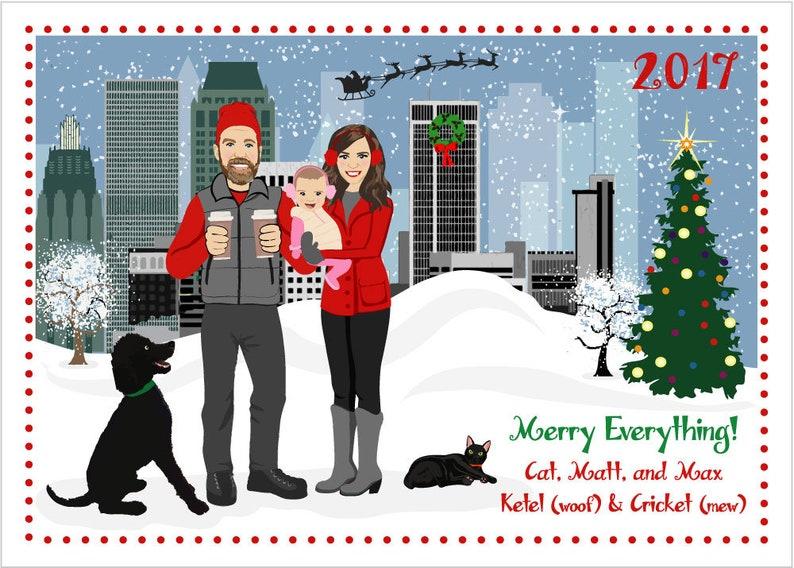 Tulsa  Custom Illustrated Christmas Card  Holiday Card  image 0