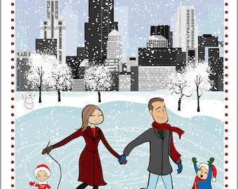 CHICAGO Ice Skating skyline - Custom Illustrated Christmas Card - Holiday Card - Hannukah Card - DIY Printable - Print Option Available