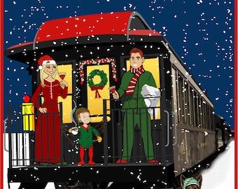 Polar Express - Custom Illustrated Christmas Card - Holiday Card - Hannukah Card - DIY Printable - Print Option Available