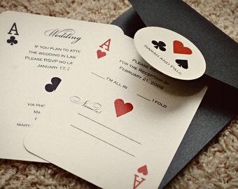 Set of CLASSIC Vegas or poker Themed Wedding Invitations