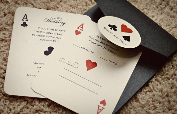 Set of CLASSIC Vegas or poker Themed Wedding Invitations | Etsy