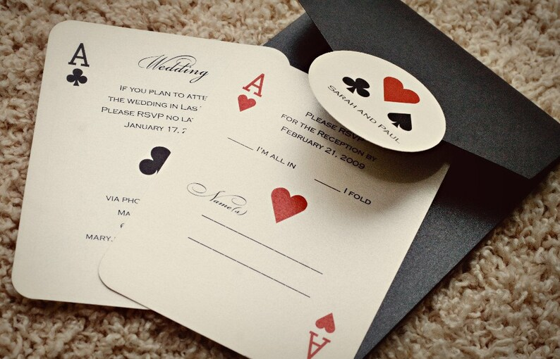 Set of CLASSIC Vegas or poker Themed Wedding Invitations image 0