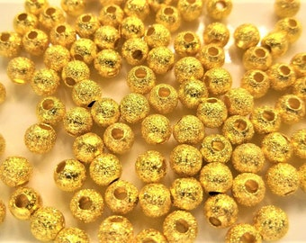 4mm. 50 CT, Brilliant Gold Stardust Spacer Beads, Beads, Sparkle, Foil, Findings, S25