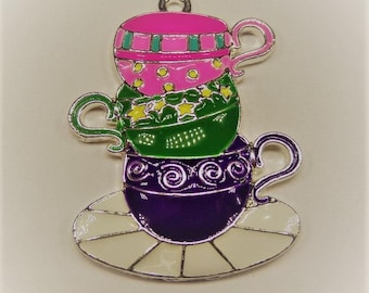 40mm*48mm, Enamel Teacups and Saucer Pendant, P37