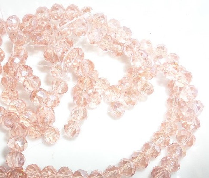 6mm Light Salmon AB Color Crystal Glass Faceted Rondelle Beads 6mm B33 100CT