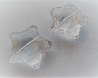 30mm, 8CT Clear Transparent Acrylic Star Beads, Faceted, Star, E16
