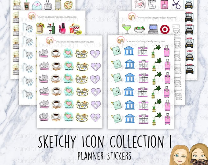 Planner Calendar Stickers- Sketchy Icons Collection 1 - Assorted Icons -Perfect for all planners!