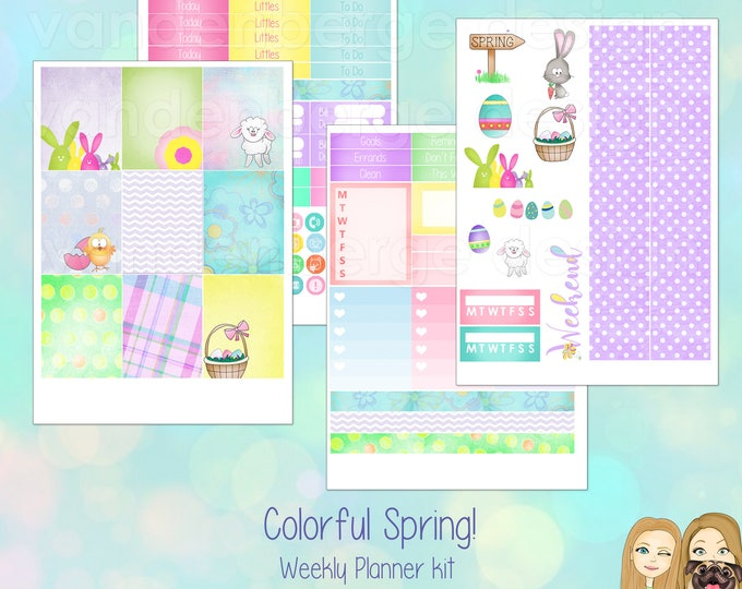Colorful Spring! Weekly Planner Sticker Kit for Erin Condren Life Planner or The MAMBI Happy Planner