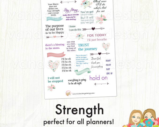 Planner Calendar Stickers- Strength- 30 stickers - motivational quote stickers, decorative stickers