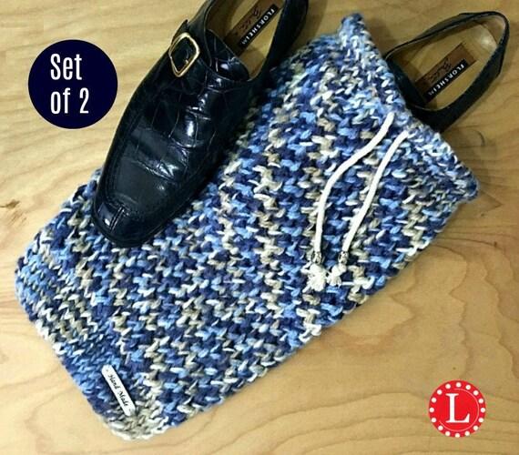 Sacs à chaussures | Lot de 2 bleu et Beige cordon de serrage à la main voyage chaussure sacs par Loomahat