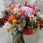 Rustic bouquet.  Bride, bridesmaid bouquet of rustic, native flowers.  Protea, banksia, wattle, gumnuts.  Australian wedding flowers.