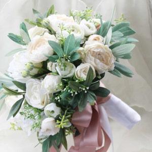 Silk bouquet Garden roses White wedding bouquet eucalyptus and olive foliage lissianthus wedding flowers sweet peas bridal gardenia