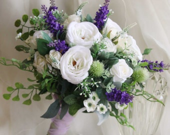 Scottish wedding bouquet. Silk flower bouquet. White, purple, green flowers. Roses, thistle, lavender, wildflowers. Scottish thistle bouquet