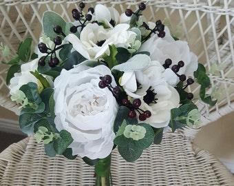 Boho wedding bouquet, bride, bridesmaid bouquet.  White and off white bouquet.  Roses, peonies, anemones, gum foliage, berries
