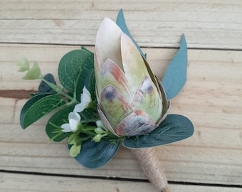 Protea buttonhole, boutonniere, groom, groomsmen, father of the bride. Lapel pin. Native wedding flowers. Green white protea, wax flower.