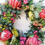Christmas proteta wreath. Large door wreath.   Australian flower xmas decoration.  Door, wall decor.  Red, Pink, white, Christmas.